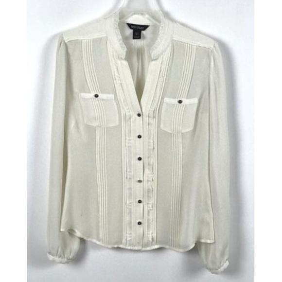 47983f9d803571 White House Black Market Beige Silk Button Blouse.  M_5aa99c368df4705bb9cba7f0